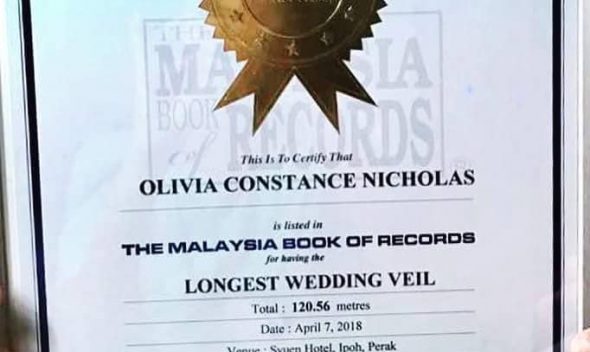 Longest Wedding Veil from Malaysia Book of Records
